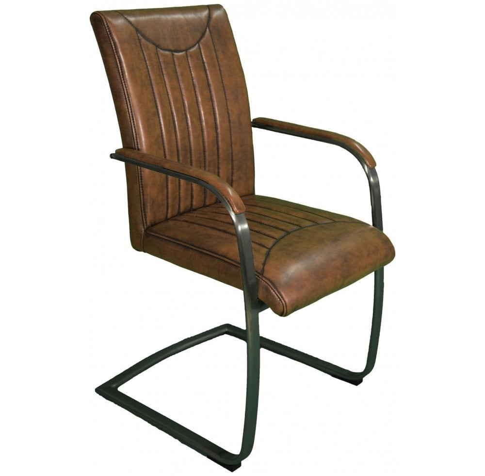 Industrial Retro Stitch Dining Armchair Vintage Brown With Vintage Frame