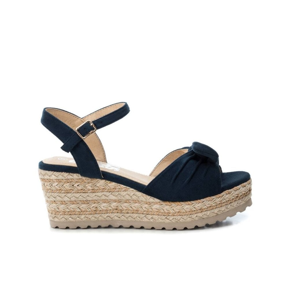 REFRESH - Open Toe Platform Wedge Sandals - Navy - Clothing from Amos Hill  Developments TA